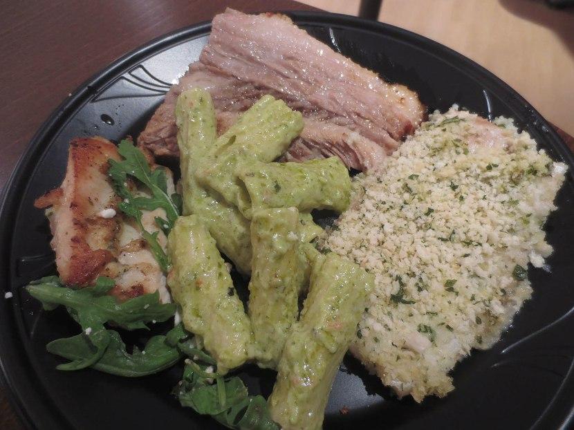 16_my_plate_pork_tenderloin_herb_crusted_filet_of_perch_rigatoni_with_pesto_cream_sauce_seared_chicken_with_baby_arugula_salad